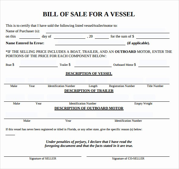 Bill Of Sale Sample Pdf Fresh Sample Boat Bill Of Sale Template 8 Free Documents In
