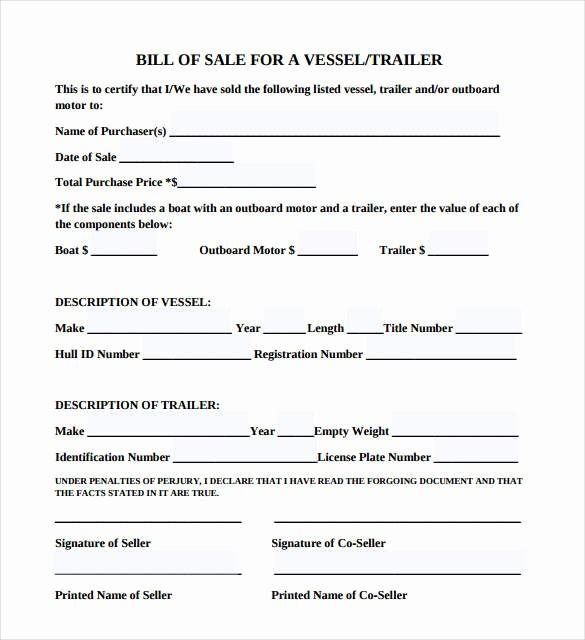 Bill Of Sale Sample Pdf Luxury Trailer Bill Of Sale – 8 Free Word Excel Pdf format