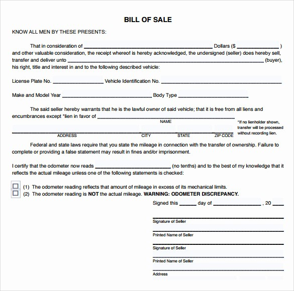 Bill Of Sale Sample Pdf New 9 Sample Used Car Bill Of Sales