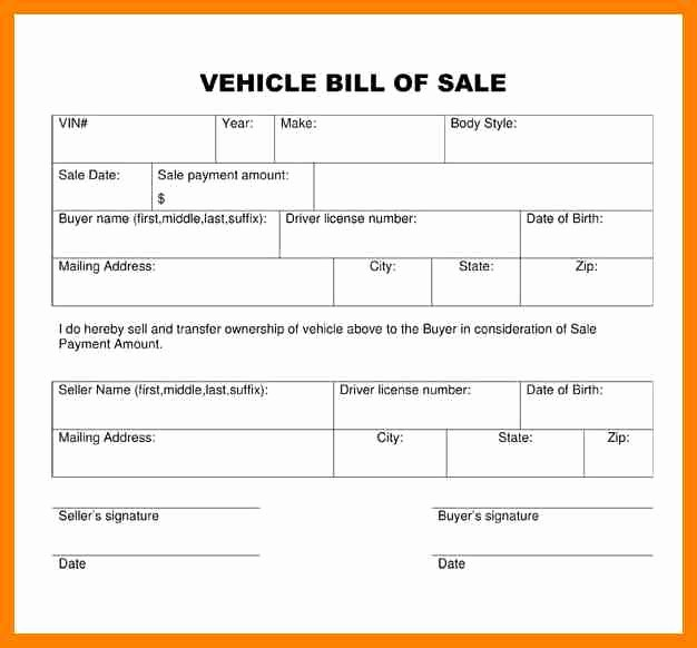 Bill Of Sale Template Ga Fresh 12 Vehicle Bill Of Sale Georgia