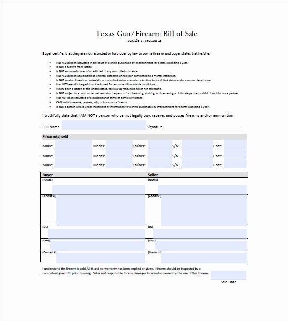 Bill Of Sale Texas Template Best Of Gun Bill Of Sale Template – 10 Free Word Excel Pdf
