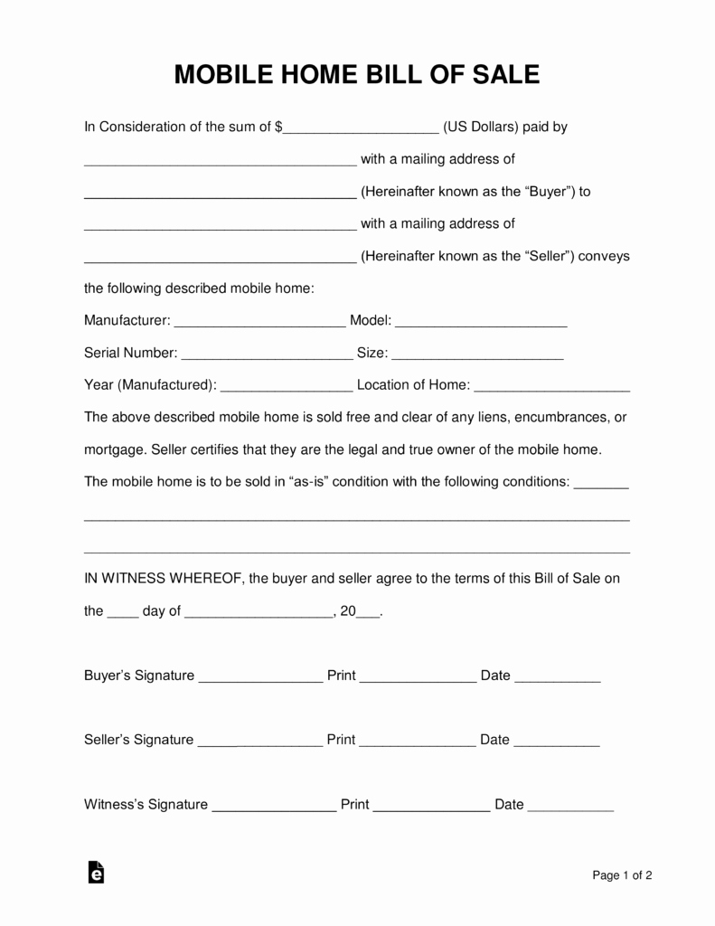 Bill Of Sale Texas Template Lovely Free Mobile Manufactured Home Bill Of Sale form Word