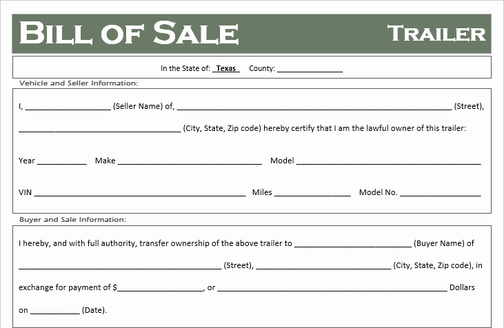 Bill Of Sale Texas Template Lovely Free Texas Trailer Bill Of Sale Template F Road Freedom
