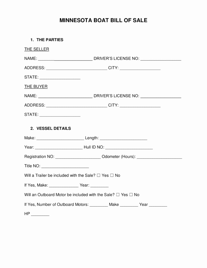 Bill Of Sale Trailer Texas Awesome Free Minnesota Boat Bill Of Sale form Word