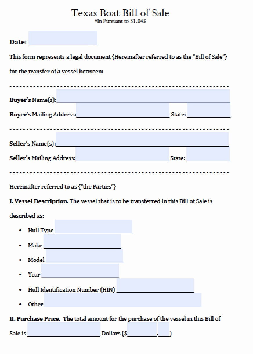 Bill Of Sale Trailer Texas Awesome Free Texas Boat Bill Of Sale form Pdf