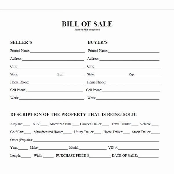 Bill Of Sale Trailer Texas Best Of Printable Car Bill Of Sale Pdf