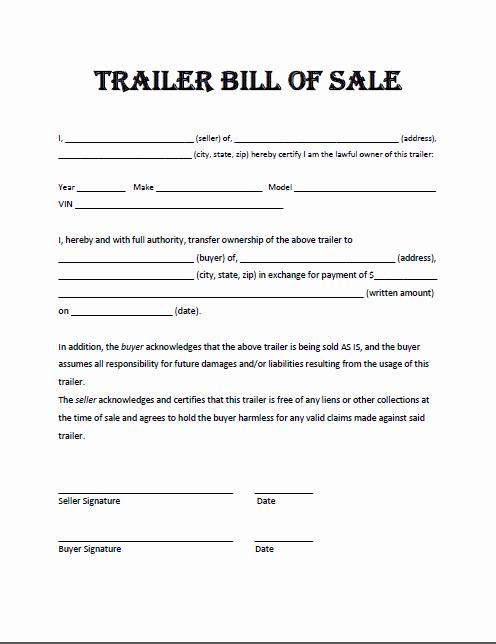 Bill Of Sale Trailer Texas Best Of Trailer Bill Sale