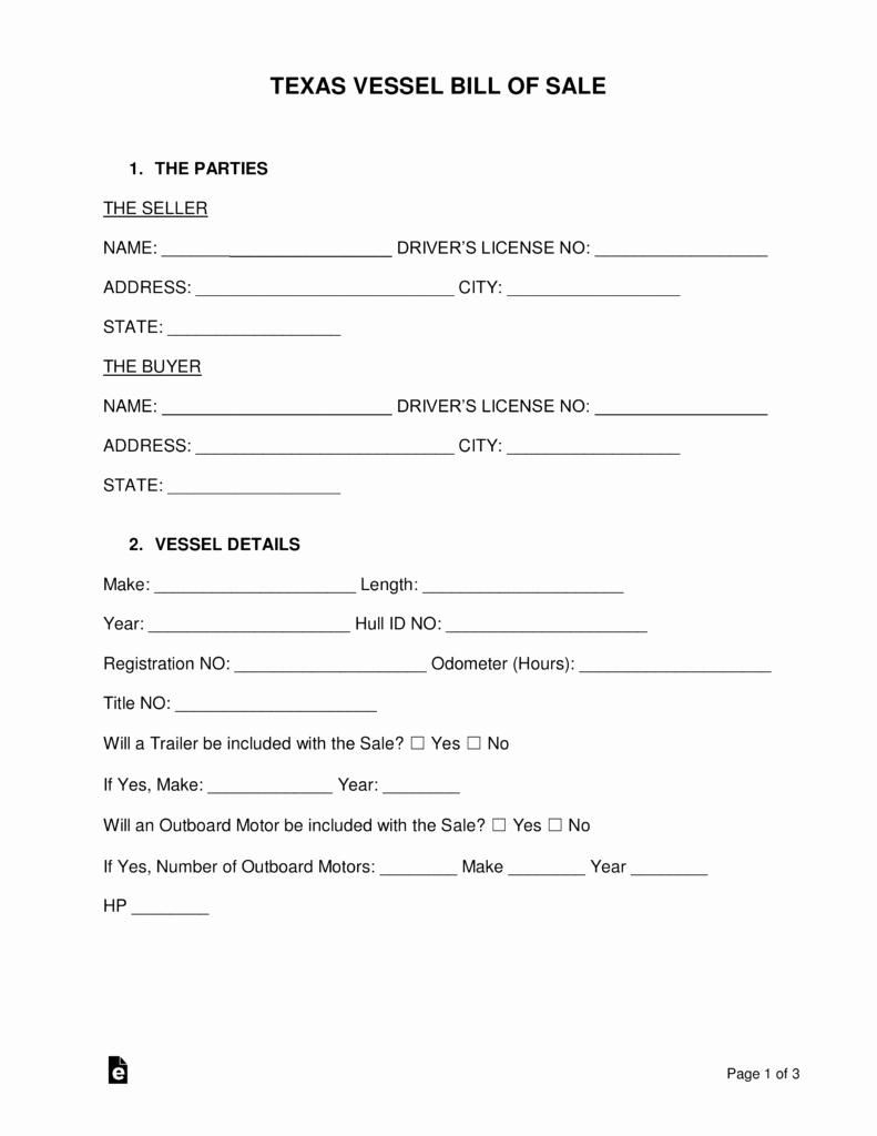Bill Of Sale Trailer Texas Elegant Free Texas Boat Bill Of Sale form Word Pdf