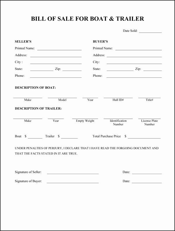 Bill Of Sale Trailer Texas Lovely Free Printable Rv Bill Of Sale form form Generic