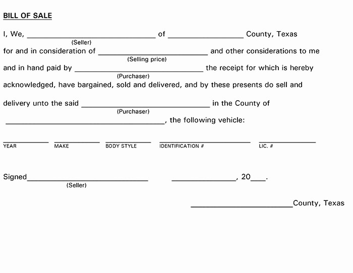 Bill Of Sale Trailer Texas Unique Texas Bill Of Sale form