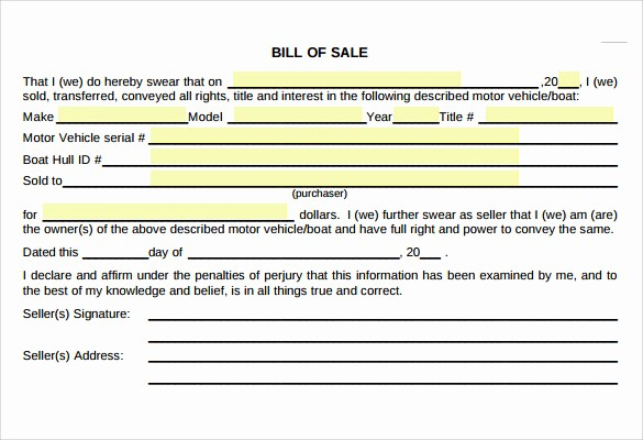 Bill Of Sale Used Vehicle Elegant 6 Car Bill Of Sale Samples