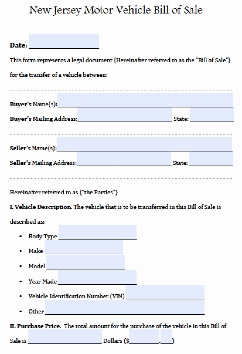 Bill Of Sale Used Vehicle Fresh Free New Jersey Motor Vehicle Car Auto Bill Of Sale form