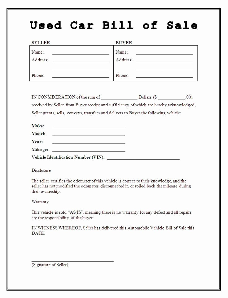 Bill Of Sale Used Vehicle Inspirational Bill Of Sale form
