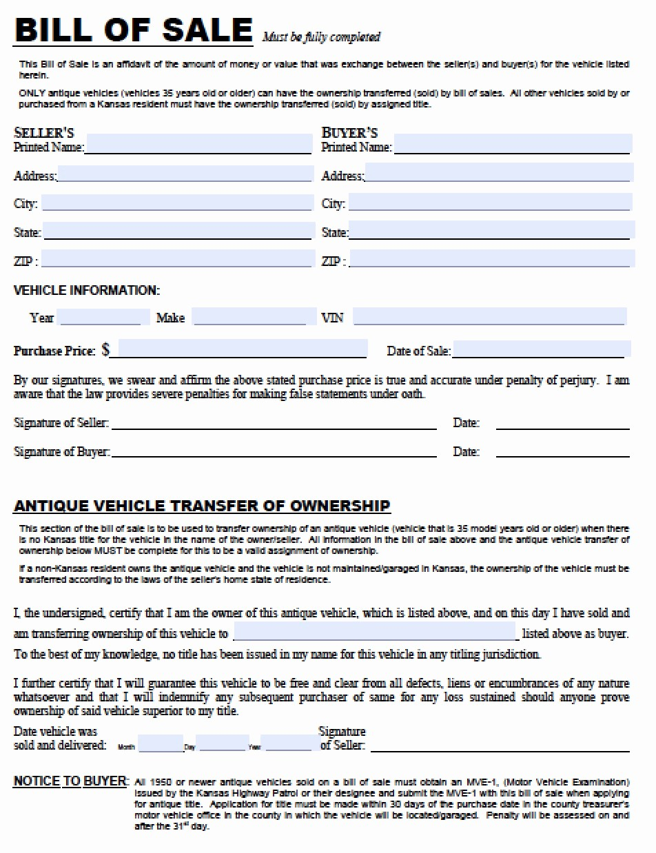 Bill Of Sale Used Vehicle Inspirational Free Kansas Dmv Vehicle Bill Of Sale Tr 12 form
