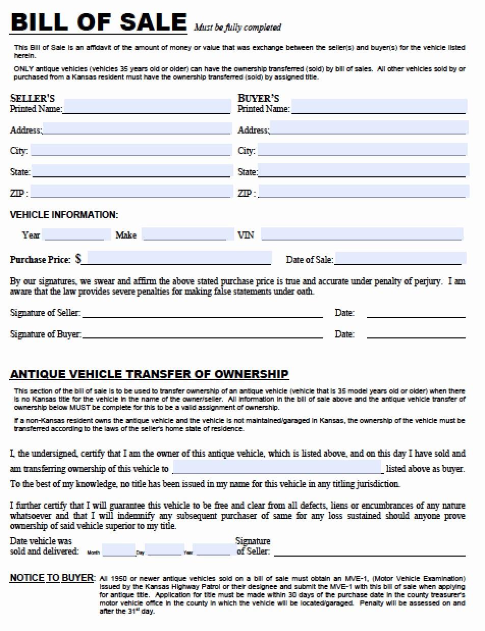 Bill Of Sale Used Vehicle Inspirational Free Kansas Dmv Vehicle Bill Of Sale Tr 12 form