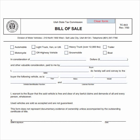 Bill Of Sale Used Vehicle Inspirational Used Car Sale A Bill 7 Download Free Documents In Pdf