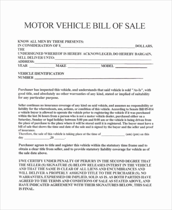 Bill Of Sale Used Vehicle New Sample Bill Of Sale Vehicle form 8 Free Documents In Pdf