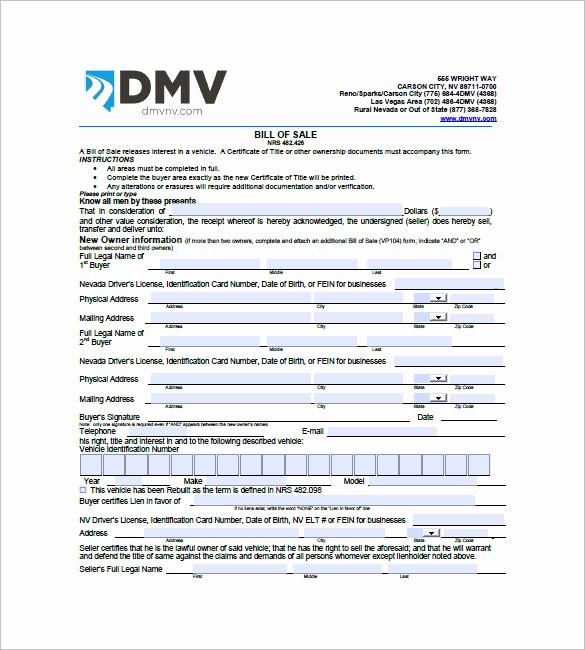 Bill Of Sale Vehicle Pdf Awesome Car Bill Of Sale – 10 Free Sample Example format