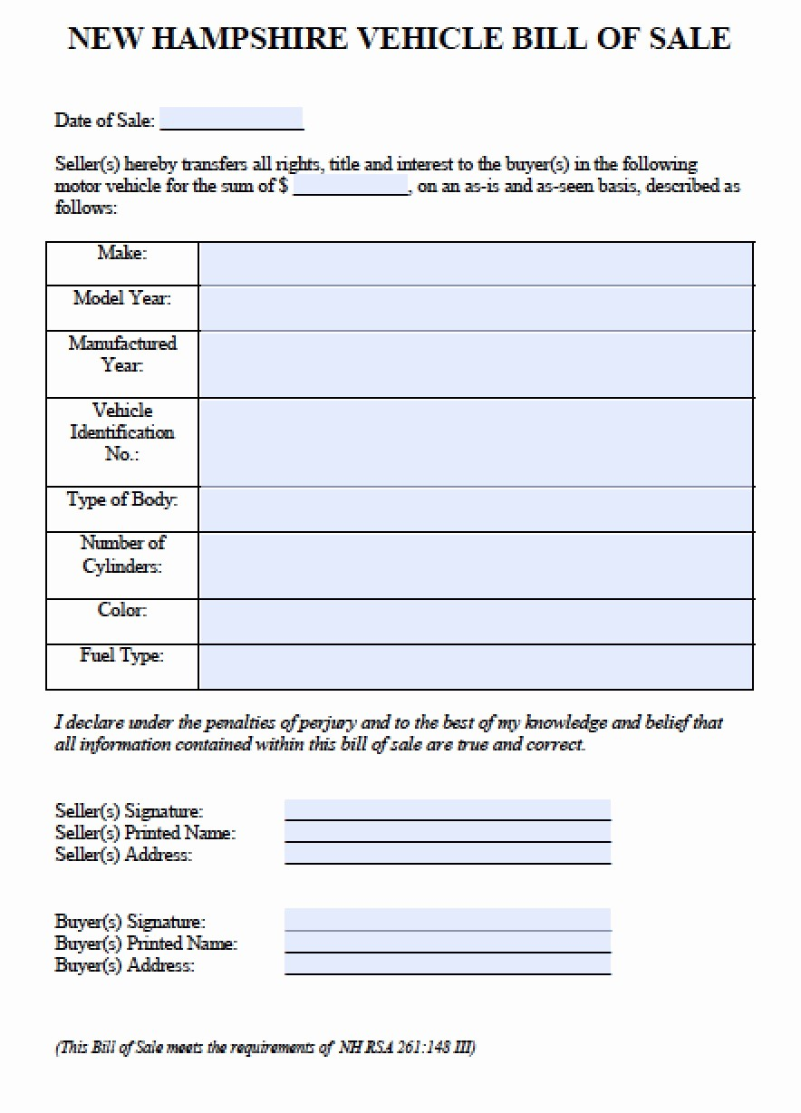 Bill Of Sale Vehicle Pdf Awesome Free New Hampshire Car Vehicle Bill Of Sale form