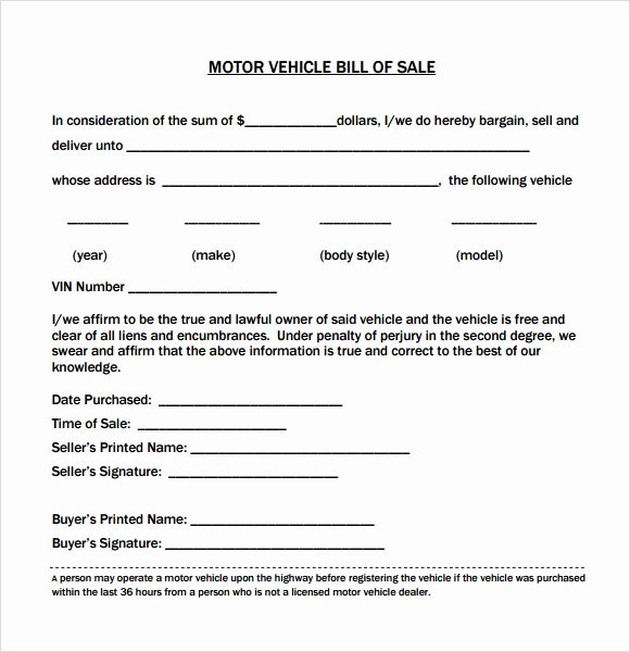 Bill Of Sale Vehicle Pdf Luxury Best S Of Vehicle Bill Sale Pdf Used Car Bill Of