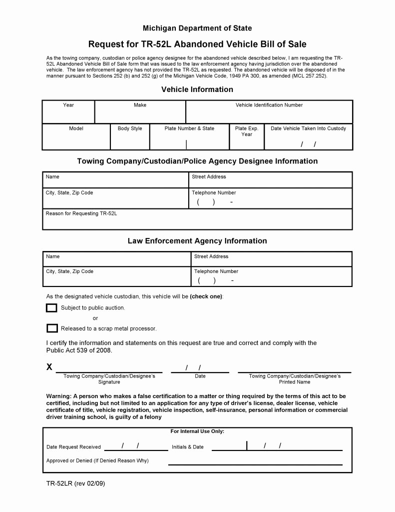 Bill Of Sale Vehicle Pdf New Free Michigan Abandoned Vehicle Bill Of Sale Pdf
