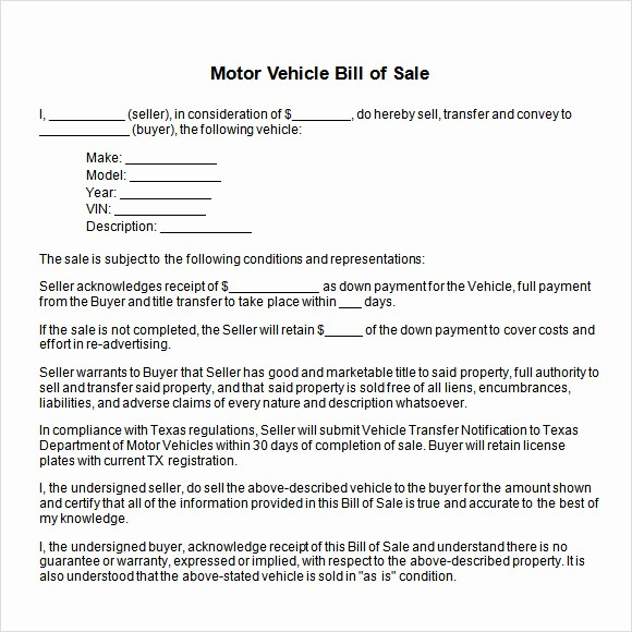 Bill Of Sale Vehicle Texas Fresh Vehicle Bill Of Sale Template 14 Download Free