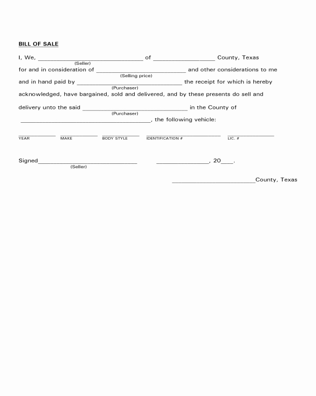 Bill Of Sale Vehicle Texas Inspirational Vehicle Bill Of Sale form Texas Edit Fill Sign