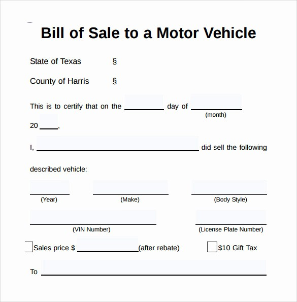 Bill Of Sale Vehicle Texas Lovely 8 Vehicle Bill Of Sale forms to Download