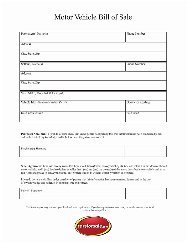 Bill Of Sales for Cars Unique Free Printable Motor Vehicle Bill Sale