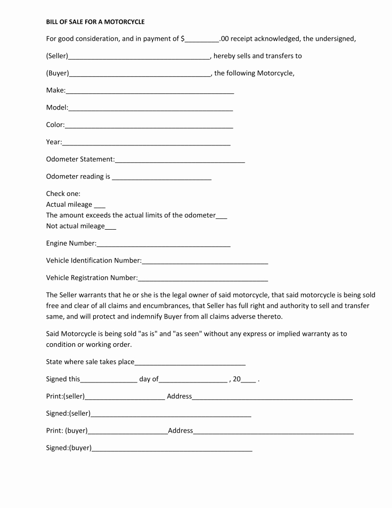 Bill Sell for A Car Awesome Free Massachusetts Motorcycle Bill Of Sale form