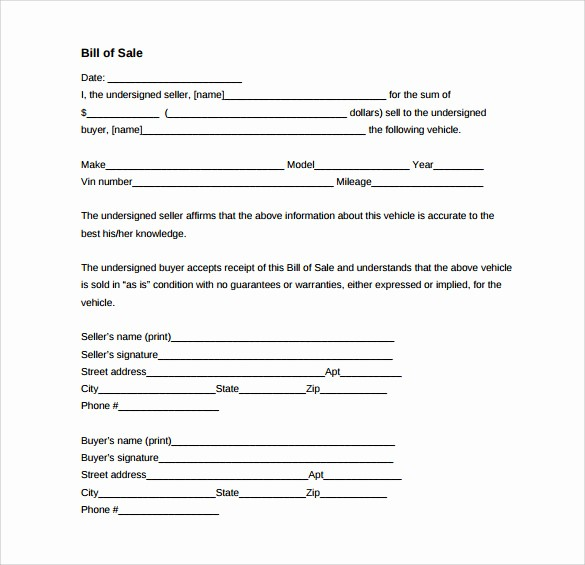 Bill Sell for A Car Best Of 8 Vehicle Bill Of Sale forms to Download