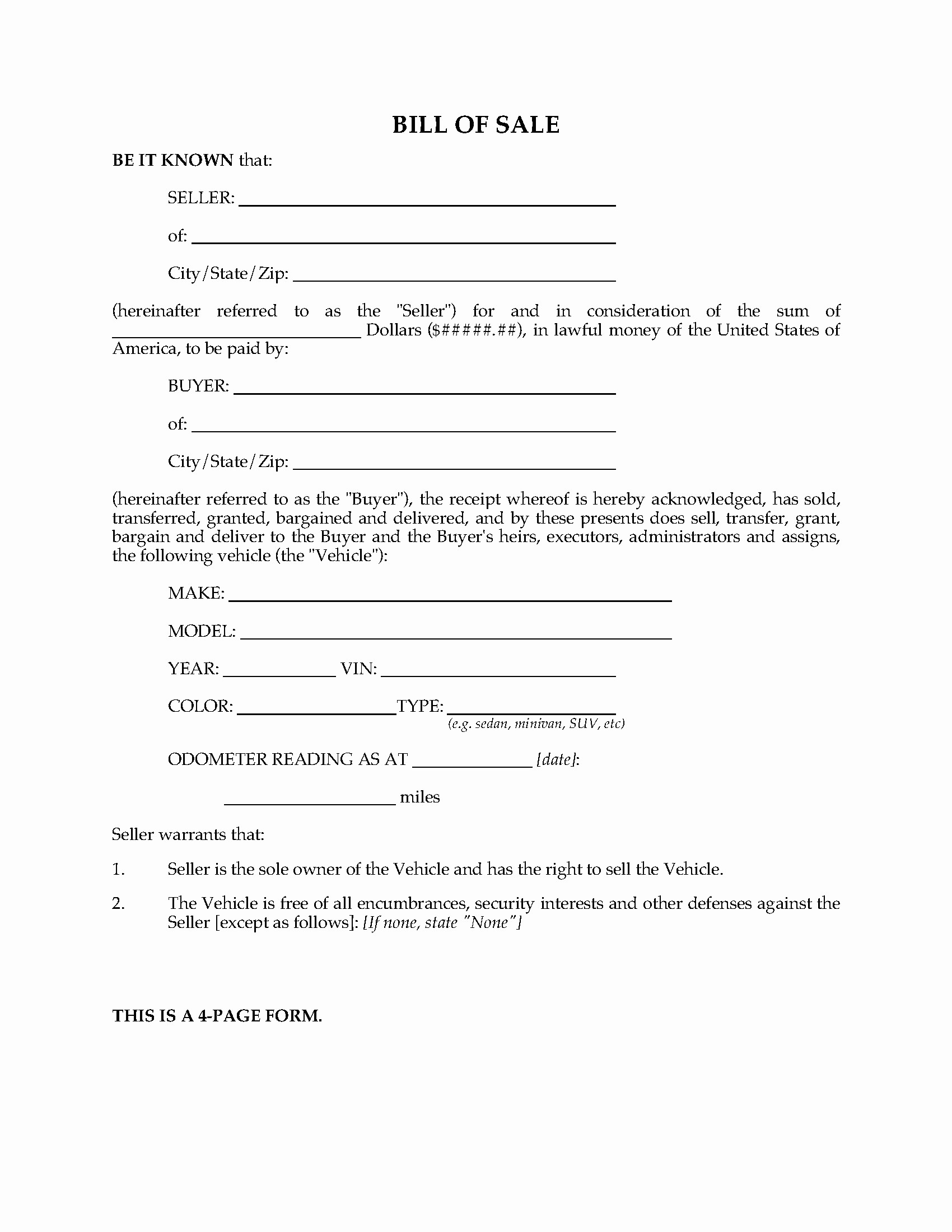 Bill Sell for A Car Best Of Usa Vehicle Bill Of Sale form