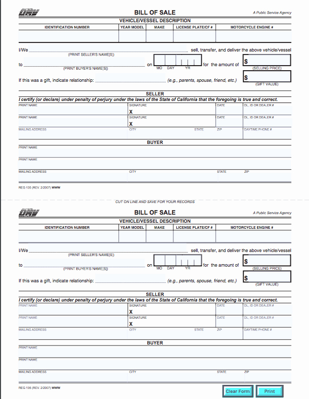 Bill Sell for A Car Lovely California Bill Of Sale form