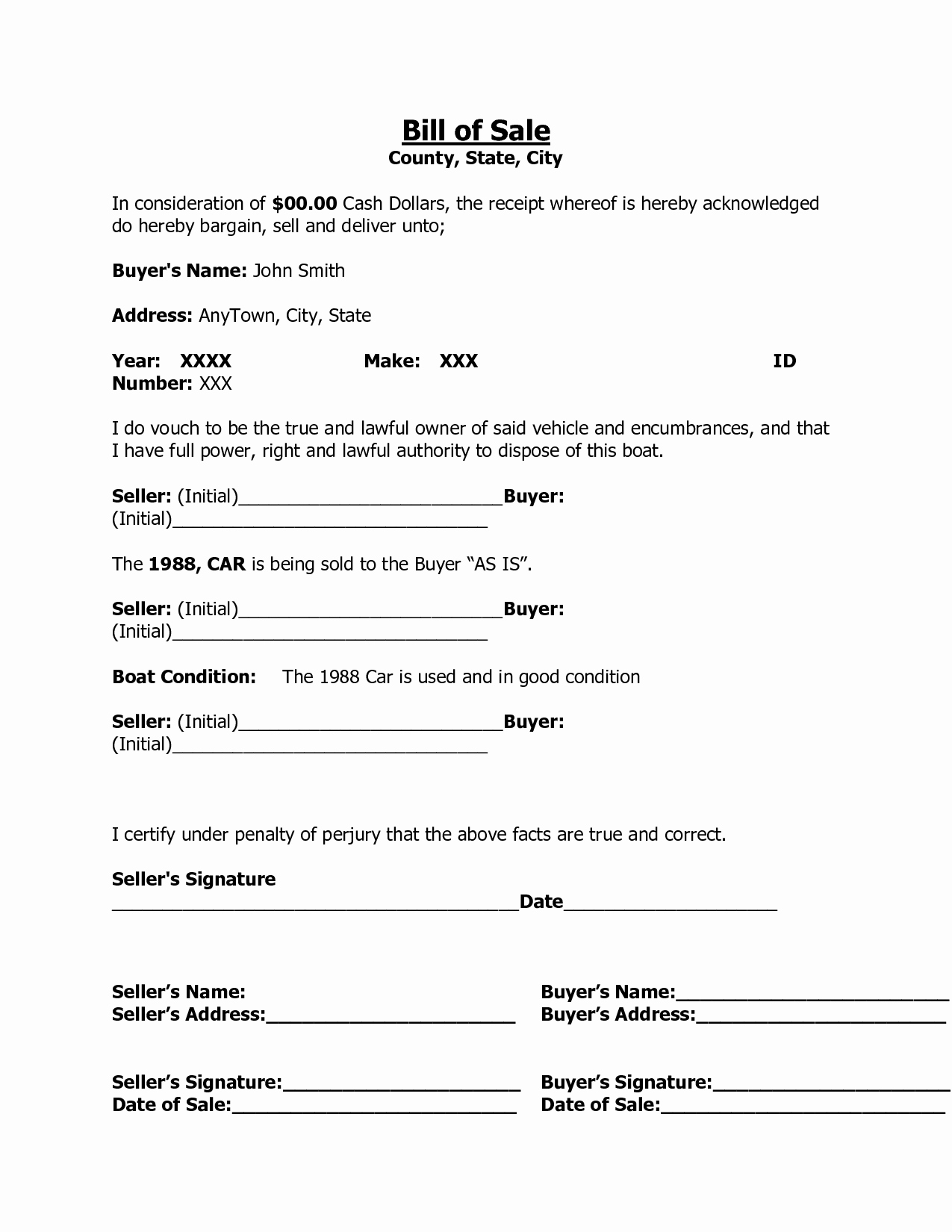Bill Sell for A Car New Free Printable Free Car Bill Of Sale Template form Generic