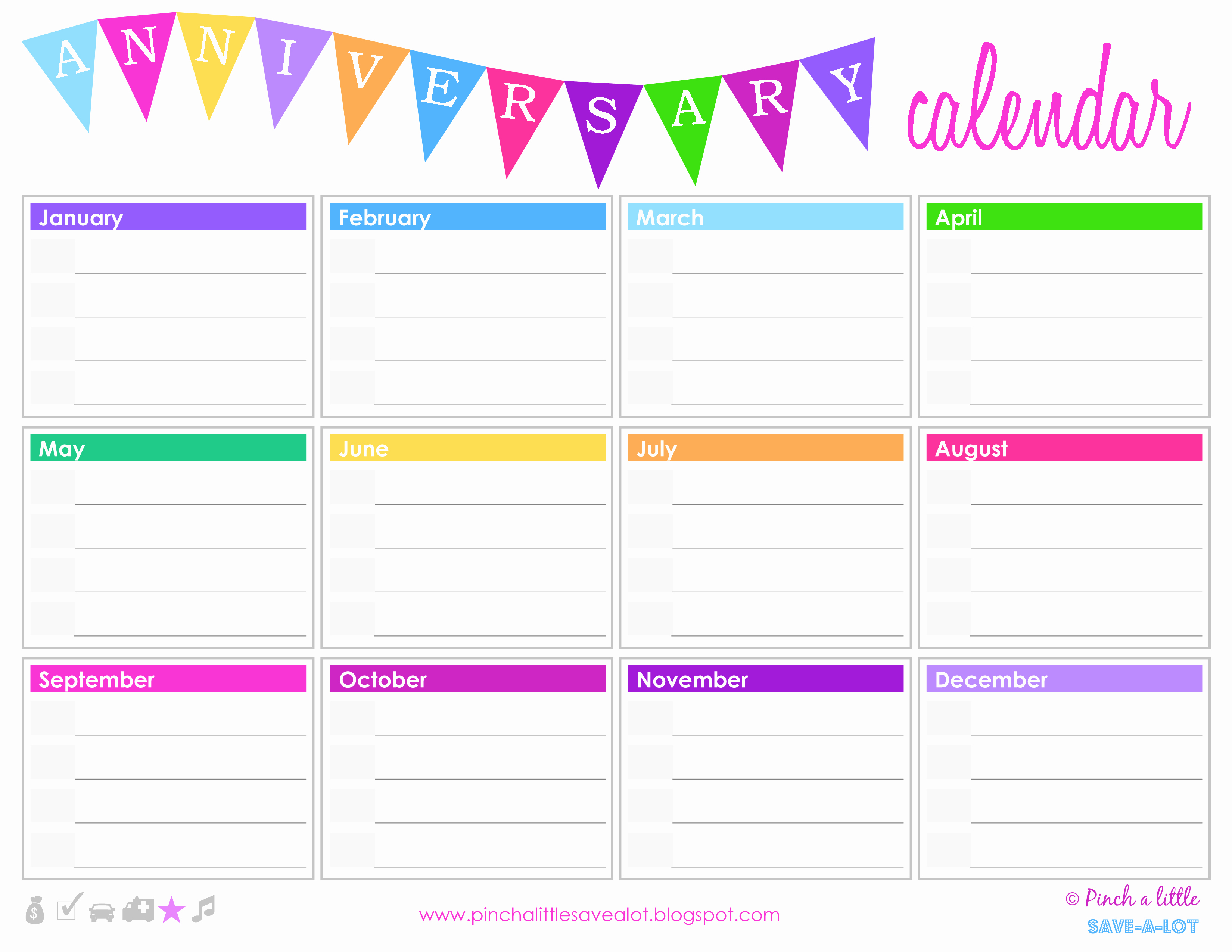 Birthday and Anniversary Calendar Template Beautiful Free Birthday Anniversary Calendar