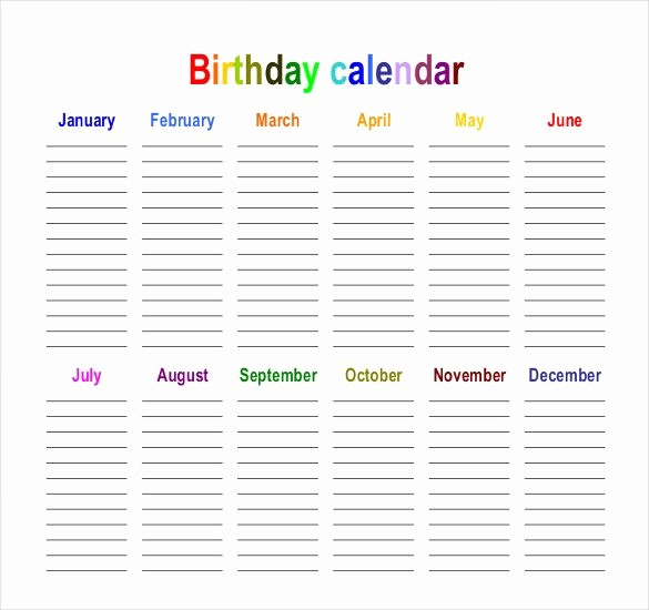 Birthday and Anniversary Calendar Template Fresh 43 Birthday Calendar Templates Psd Pdf Excel