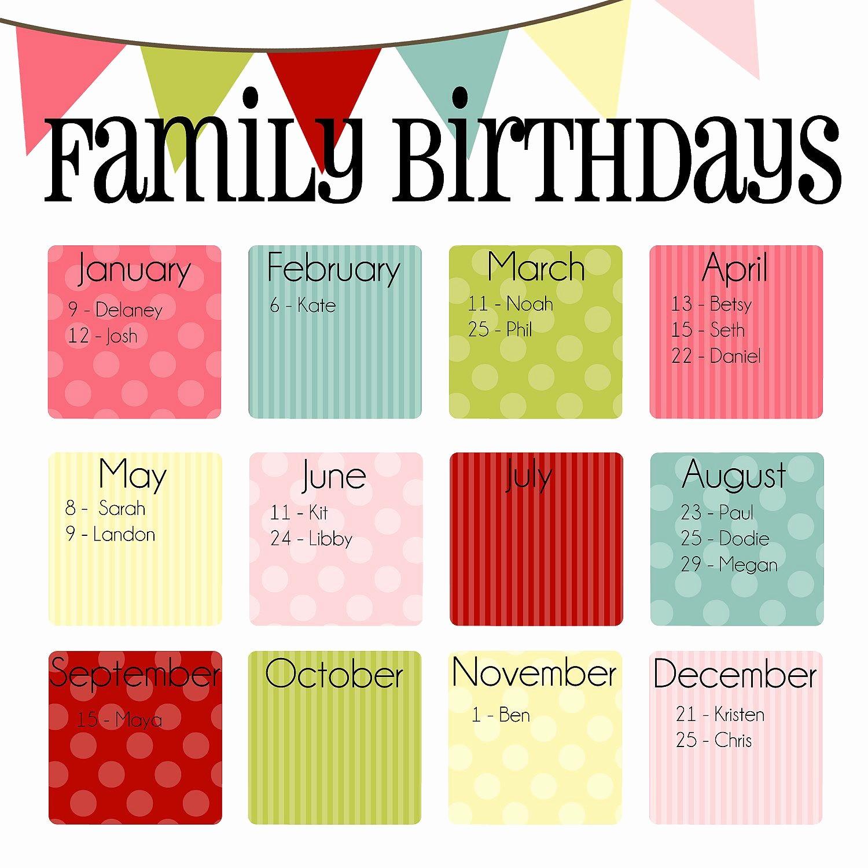 "Birthday and Anniversary Calendar Template Fresh Family Birthday Calendar Digital Copy You Print In ""ice"