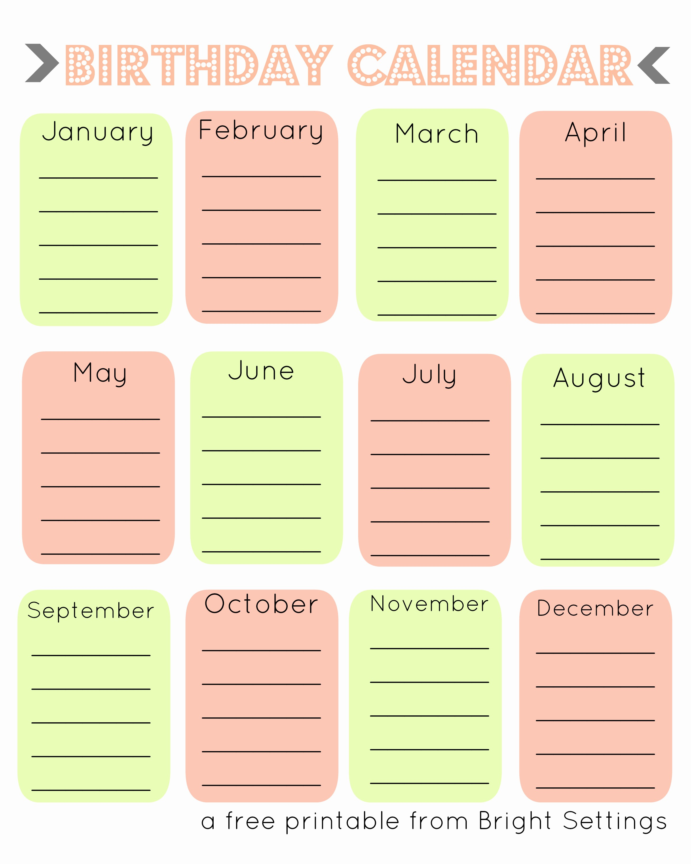 Birthday and Anniversary Calendar Template Fresh Template Birthday Calendar Template