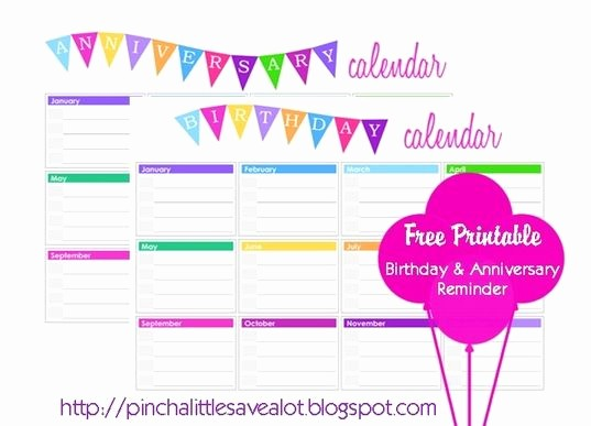 Birthday and Anniversary Calendar Template Luxury 10 Images About Printable Birthday Calendar On Pinterest