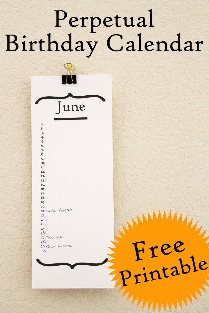 Birthday and Anniversary Calendar Template Luxury Free Birthday Calendar Printable 30 Minute Crafts