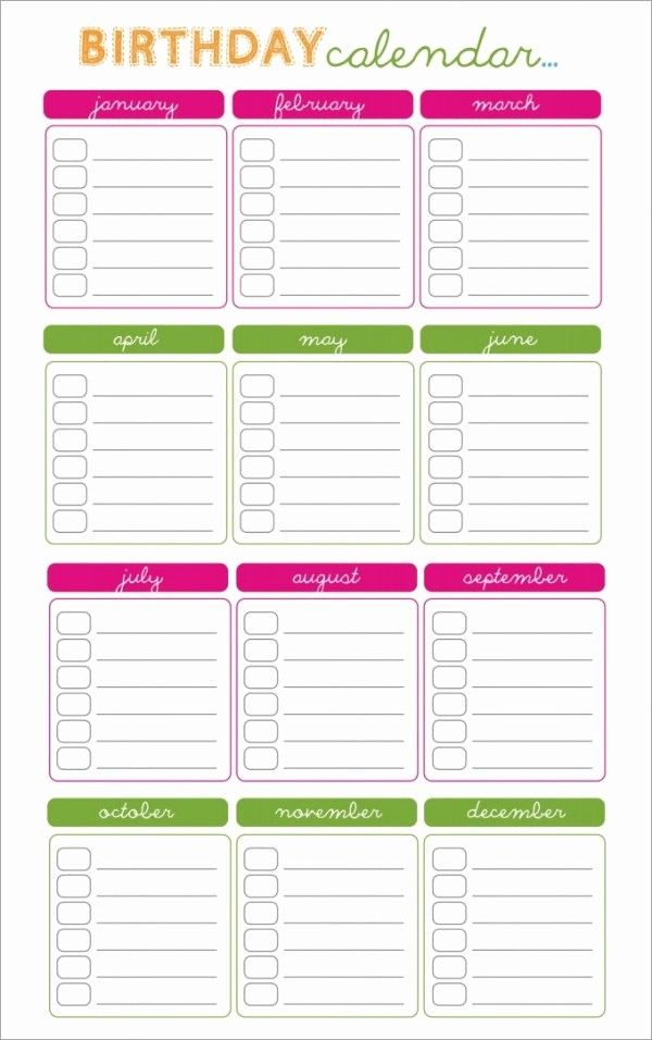 Birthday and Anniversary Calendar Template New 43 Birthday Calendar Templates Psd Pdf Excel