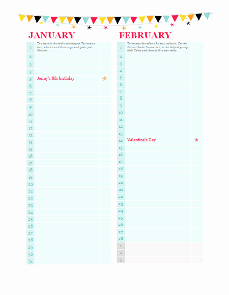Birthday and Anniversary Calendar Template New Birthday and Anniversary Calendar Any Year Calendars