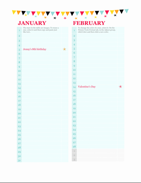 Birthday and Anniversary Calendar Template New Birthday and Anniversary Calendar