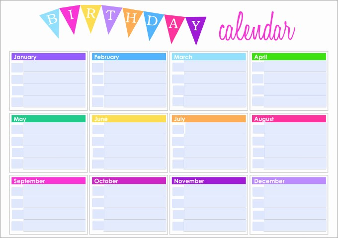 Birthday and Anniversary Calendar Template New Birthday Calendar Calendar Template