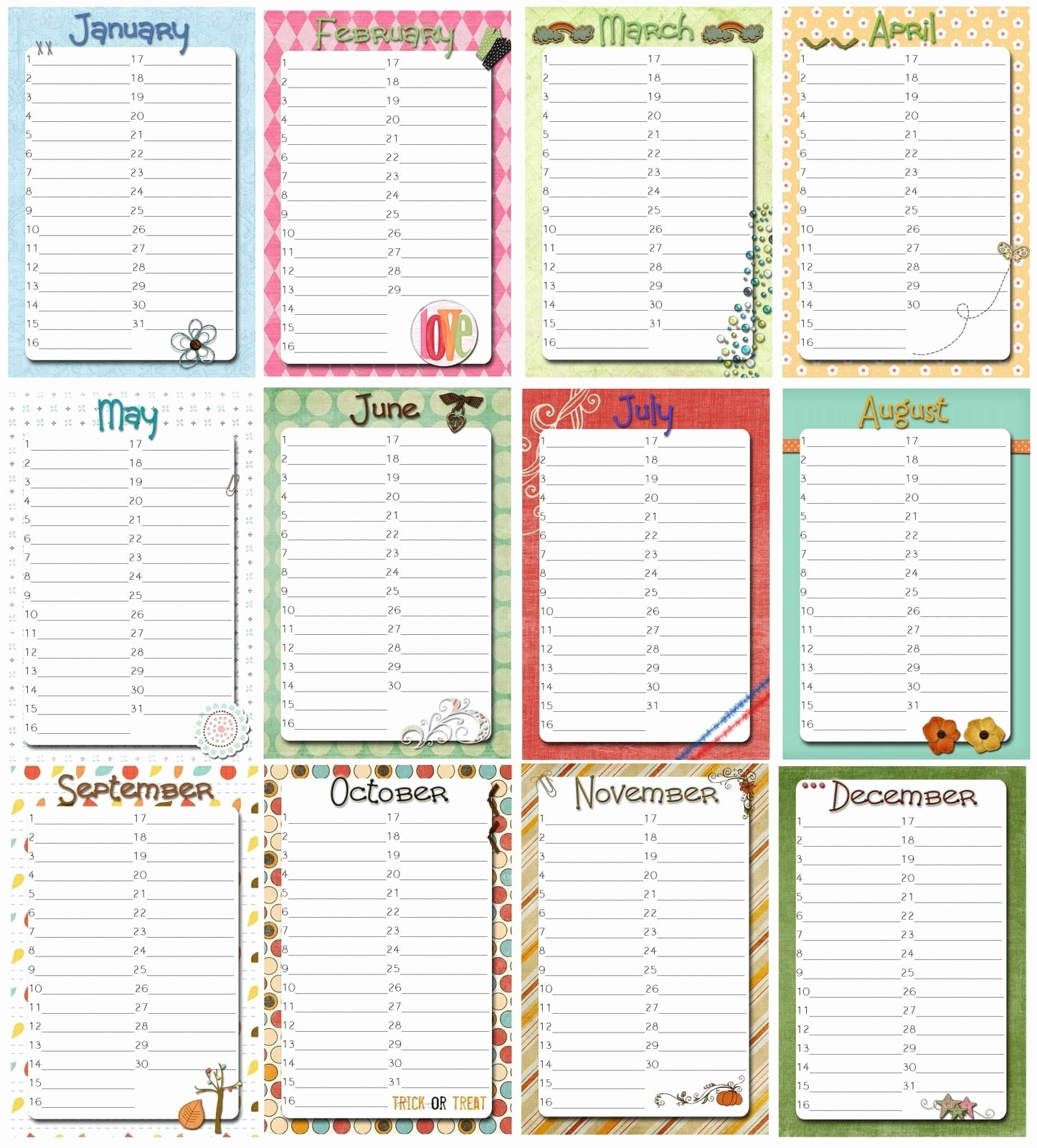 Birthday and Anniversary Calendar Template New Free Perpetual Calendar Template