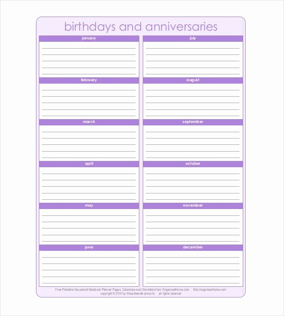 Birthday and Anniversary Calendar Template Unique 43 Birthday Calendar Templates Psd Pdf Excel