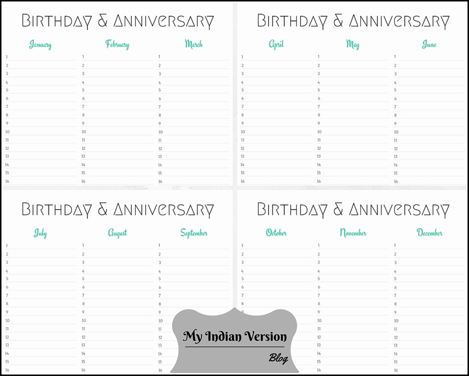 Birthday and Anniversary Calendar Template Unique My Indian Version Birthday & Anniversary Calendar Free