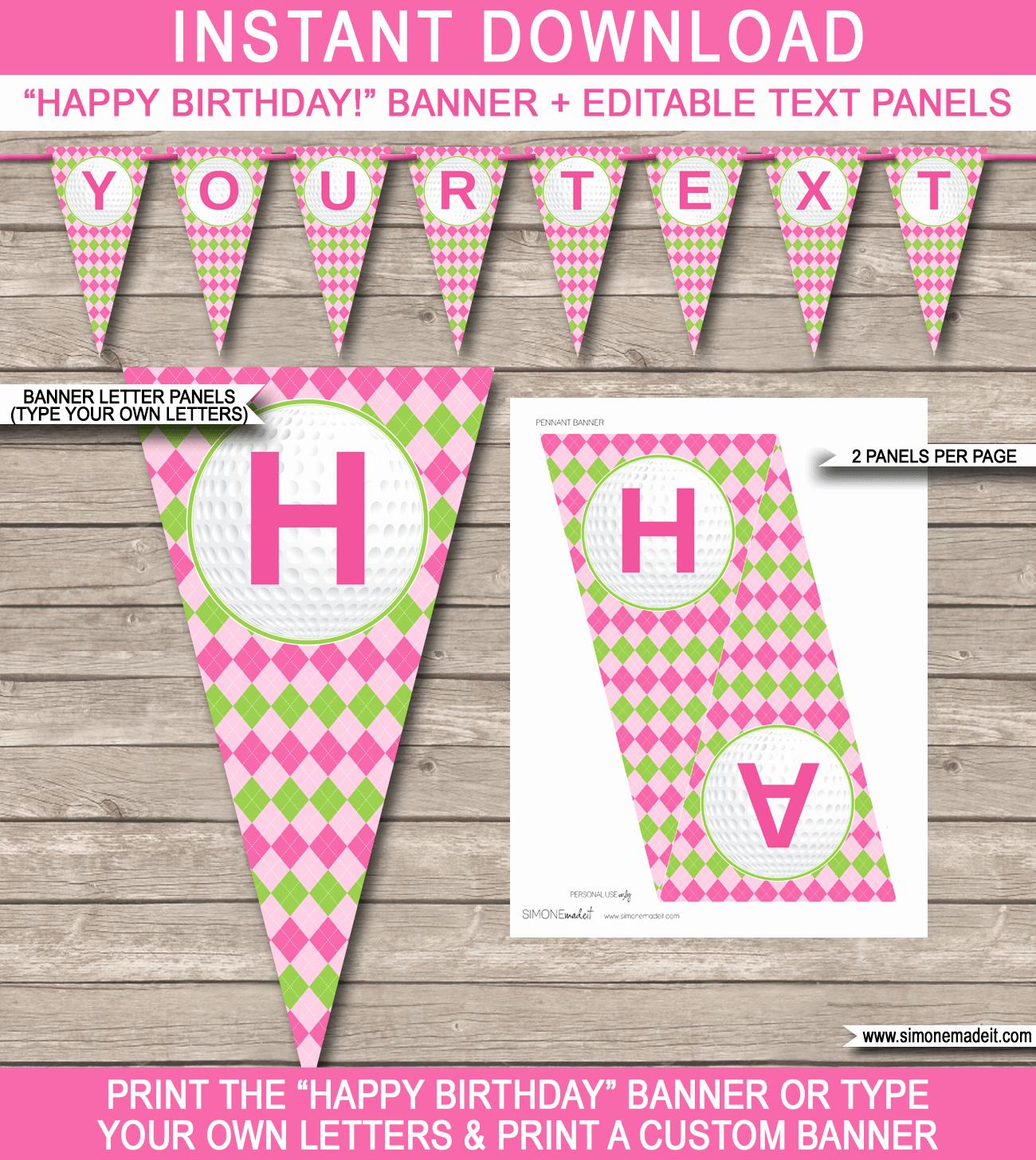 Birthday Banner Templates Free Download Best Of Girls Golf Birthday Banner Template