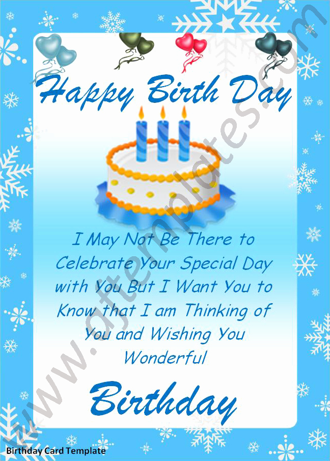 Birthday Card Template for Word Inspirational Birthday Card Template