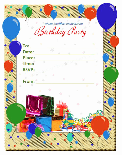 Birthday Card Template for Word Inspirational Free Word Templates Birthday Invitation Template
